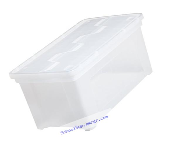 IRIS Letter Size Wing-Lid File Box, 4 Pack, Clear