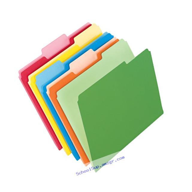 Pendaflex Two-Tone Color File Folders, Letter Size, 1/3 Cut, Assorted Colors, Total of 100 Folders per Box (152 1/3 ASST)