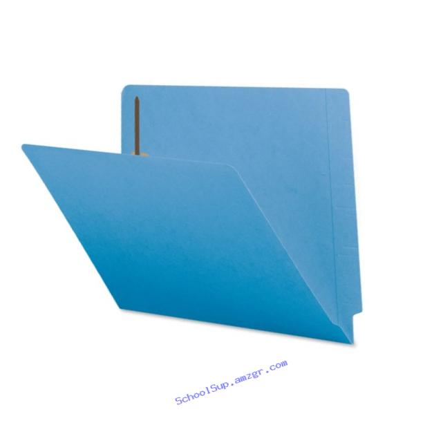 Smead End Tab Fastener File Folder, Shelf-Master Reinforced Straight-Cut Tab, 2 Fasteners, Letter Size, Blue, 50 per Box (25040)