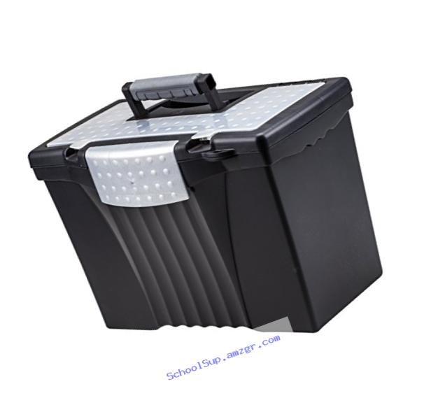 Storex Portable File Box with Organizer Lid, 17.13 x 9.63 x 11 Inches, Letter/Legal, Black (61510U01C)