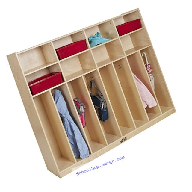 ECR4Kids Birch 8-Section Slim-Fit School Coat Locker with Hooks and Storage for Kids, 60